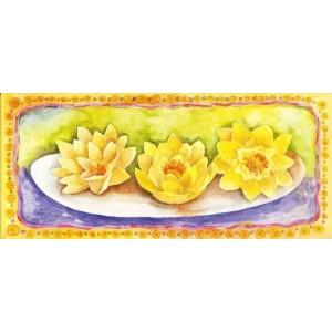 kunstige wenskaart met gele geschilderde bloemen op een schaal