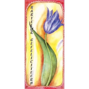 kunstige wenskaart met geschilderde blauwe bloem
