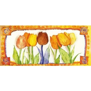 kunstige wenskaart met geschilderde tulpen