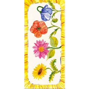 geschilderde bloemen op een gele wenskaart