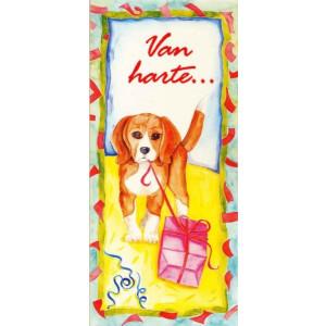 kunstige wenskaart vanh arte met getekende hond met pakketje