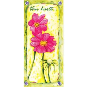 getekende wenskaart met roze bloemen op een gele achtergrond