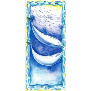 getekende wenskaart met dolfijnen onder water