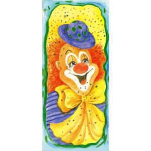getekende wenskaart geel met een clown