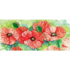 getekende wenskaart met rode bloemen met groene achtergrond