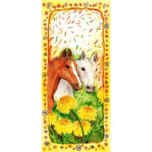 getekende wenskaarten met twee paarden in de wei