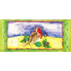 getekende wenskaart van roodborstje op tak met bessen