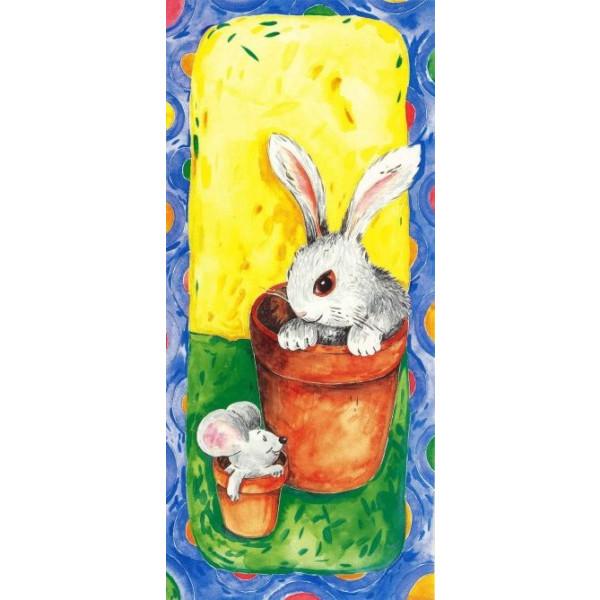 getekende wenskaart met een konijn en een muis in een bloempot
