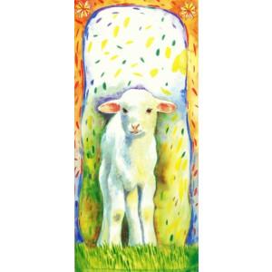 getekende wenskaartmet een schaap in de wei