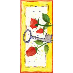 getekende wenskaart met rozen en een sleutel