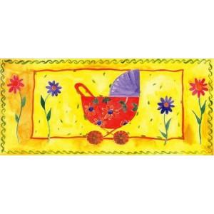 getekende wenskaart met kinderwagen en bloemen