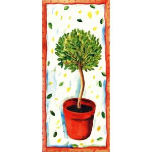 geschilderde wenskaarten met plant in een rode pot
