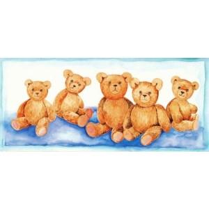 getekende wenskaartjes met vijf knuffel beren op een rij