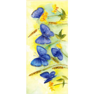 gele geschilderde wenskaart met blauwe vlinders