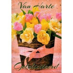 Wenskaart van harte gefeliciteerd met roze en gele tulpen