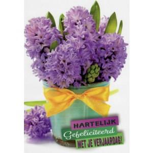 Felicitatiekaart met je verjaardag met paarse bloemen in een potje