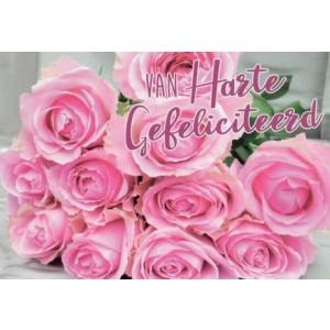 Wenskaart felicitatie met een bos roze rozen