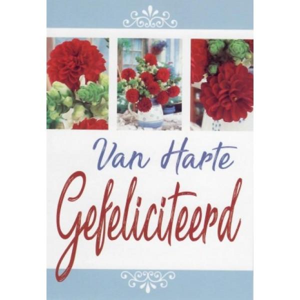 Felicitatiekaart met rode bloemen