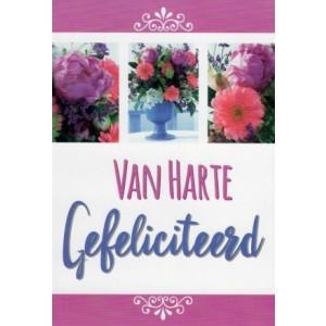 Wenskaart van harte gefeliciteerd met een passe-partout van een mooi boeket bloemen