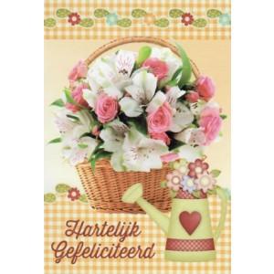 Wenskaart felicitatie bloemen in een mandje en een gietertje