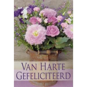 Wenskaart bloemen van harte gefeliciteerd met een mooi boeket van roze en paarse bloemen
