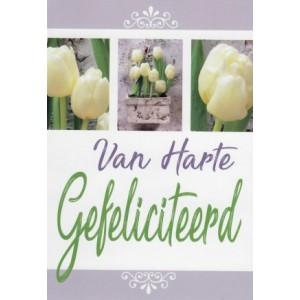 Felicitatiekaart met een passe-partout van witte tulpen