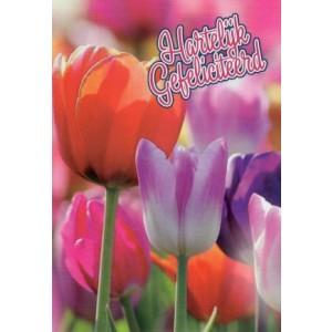 Wenskaart felicitatie tulpen