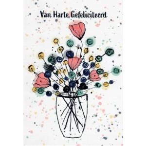 wenskaart felicitatie met een modern getekend boeket bloemen in een vaas