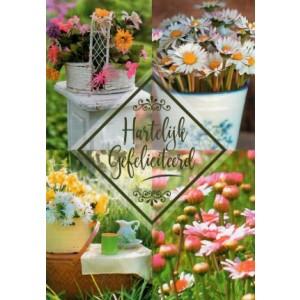 Wenskaart hartelijk gefeliciteerd met een passe-partout van bloemen