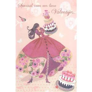 valentijnskaart met jurk en taart