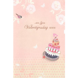 valentijnskaart met bloemen en vogel