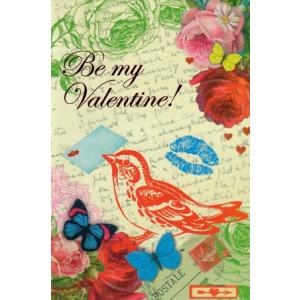 Valentijnskaart Be my valentine met bloemen en vogel