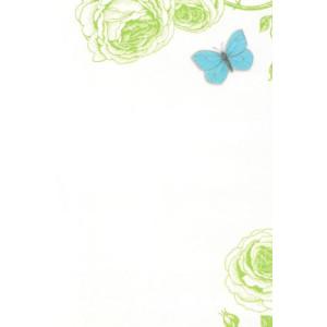 valentijnskaart groene bloemen met blauwe vlinder