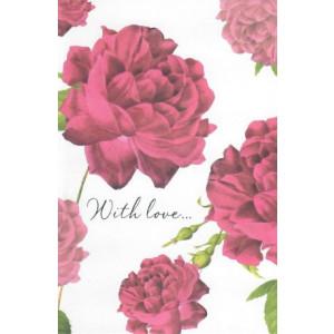 valentijnskaart met rode rozen with love