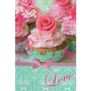 valentijnskaart met cupcakes en roosjes