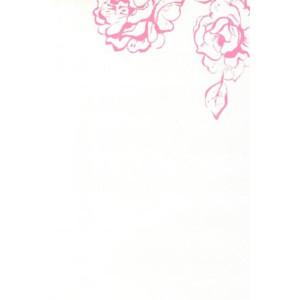 wenskaart met roze bloemen op witte achtergrond