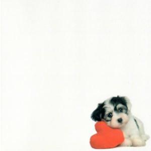 valentijnskaart met een rood hartje en hondje