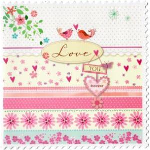 traditionele valentijnskaart love you for ever met vogeltjes