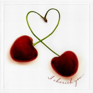 valentijnskaart met kersen in hartvorm