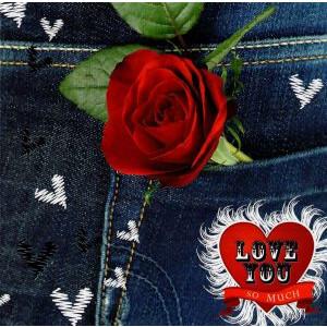 wenskaart vallentijn love you so much met spijkerbroek en roos