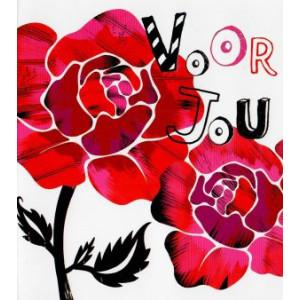 wenskaart voor jou met rode rozen