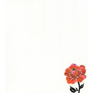 witte wenskaart met rood zwarte roos op achtergrond