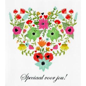 wenskaart speciaal voor jou bloemen in hart