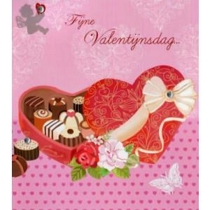 wenskaart fijne valentijnsdag hart met bonbons