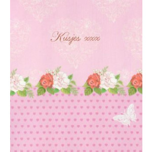 goedkope mooie valentijnskaart met bloemen en kusjes xxx