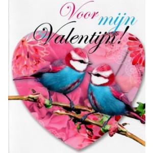 wenskaart voor mijn valentijn hart met vogeltjes