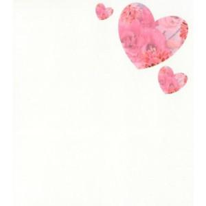 valentijnskaart met hartje en roze bloemen