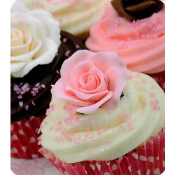wenskaart met cupcakes en roosjes