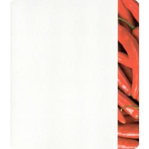 hete pepers op wenskaart rood met wit