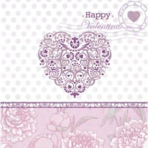 valentijnskaart wit met paars en hartje